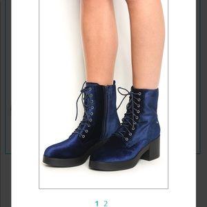 Shoes - Cotton/velvet blue lace up boots.